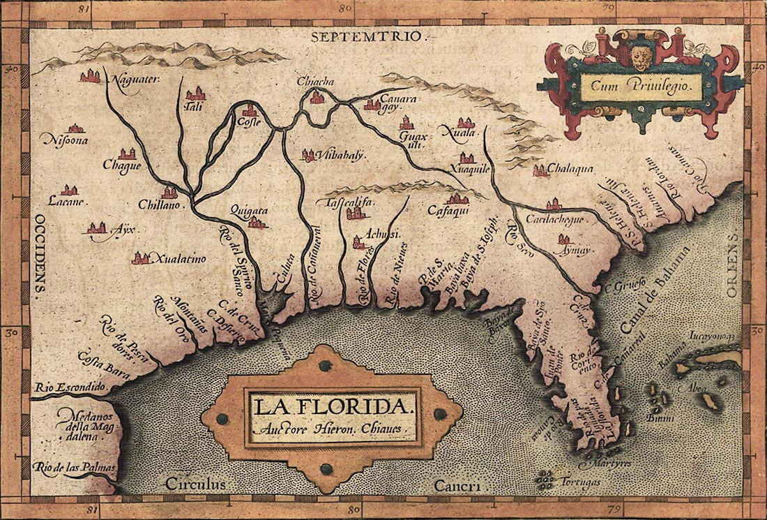 Royal cartographer Geronimo Chiaves's 1584 map of the Spanish province of  La Florida which included much of what is now the southeastern Unites States